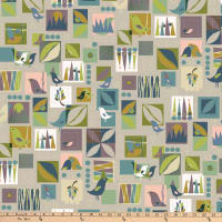 Stof Fabrics Denmark Urban Nature Birds Grey
