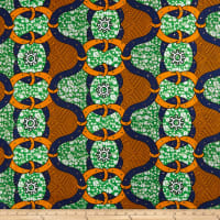 Supreme African Wax Print with Rhinestones Broadcloth 6 Yard Green/OrangeBlack