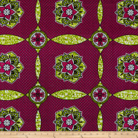 Supreme African Ankara Wax Print with Rhinestones Broadcloth 6 Yard Red/Green