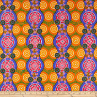 Supreme Fancy African Print Broadcloth 6 Yards Orange/Blue