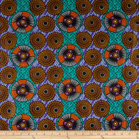 Supreme Fancy African Print Broadcloth 6 Yards Circles Multi