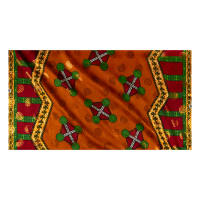 Supreme Basin African Print Broadcloth 6 Yards Metallic Gold Orange/Red/Green