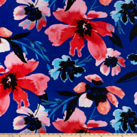 Crepe de Chine Large Painterly Flowers Blue/Red/Sky Blue/Black/Pink