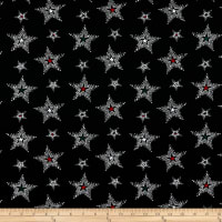 Georgette Star Print Black/White/Red/Green