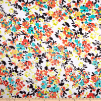 Chiffon Painterly Floral Print Red Pepper/Seafoam/Yellow/Black/White