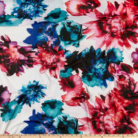 Chiffon Large Floral Digital Print White/Blue/Pink/Multi