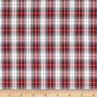 Small Tartan Plaid Shirting White/Red/Green/Yellow
