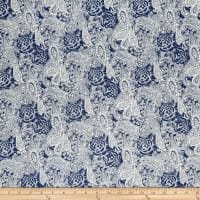 Telio Stretch Denim Paisley Print Dark Blue Ivory
