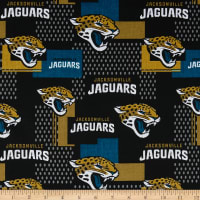 NFL Cotton Broadcloth Jacksonville Jaguars Gold/Black/Aqua