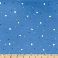 Michael Miller Minky Flight School Sprinkled Stars Denim