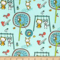 Michael Miller Minky Let's Play Playground Pals Aqua