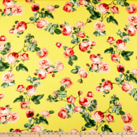Double Brushed Poly Jersey Knit English Roses Yellow/Mauve