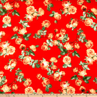 Double Brushed Poly Stretch Jersey Knit English Roses Red/Coral