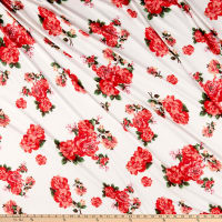 Double Brushed Poly Jersey Knit Floral Garden Ivory/Red