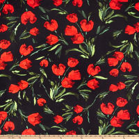 Double Brushed Poly Jersey Knit Tulips Black/Red