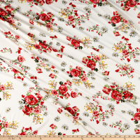Double Brushed Poly Jersey Knit Roses and Daisies Ivory/Red