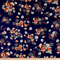 Double Brushed Poly Jersey Knit Roses and Daisies Navy/Burgundy