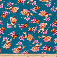 Double Brushed Poly Jersey Knit Rose Bouquet Teal/Orange