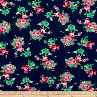 Double Brushed Poly Jersey Knit Rose Bouquet Navy/Pink
