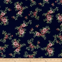 Double Brushed Poly Jersey Knit Tropical Flowers Navy/Plum