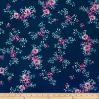 Double Brushed Poly Jersey Knit Tropical Flowers Teal/Lilac