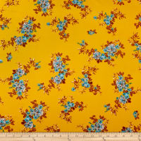 Double Brushed Poly Jersey Knit Tropical Flowers Gold/Blue