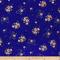 Double Brushed Poly Jersey Knit Dots and Roses Royal/Ivory