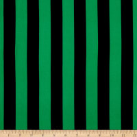 Double Brushed Poly Jersey Knit Medium Stripes Green/Navy