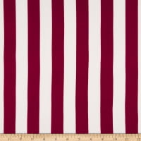 Double Brushed Poly Jersey Knit Medium Stripes Burgundy/White
