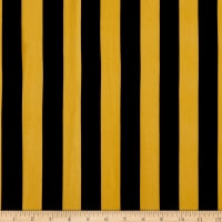 Double Brushed Poly Jersey Knit Medium Stripes Mustard/Black