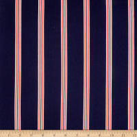 Double Brushed Poly Jersey Knit Pencil Stripes Navy/Red