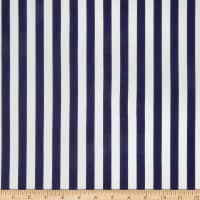 Double Brushed Poly Jersey Knit Bengal Stripes Navy/White
