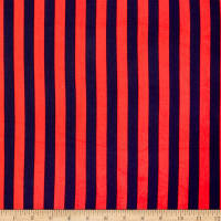 Double Brushed Poly Jersey Knit Bengal Stripes Indigo/Red