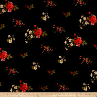 Double Brushed Poly Jersey Knit Mini Floral Bouquet Black/Coral