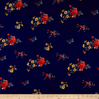 Double Brushed Poly Jersey Knit Mini Floral Bouquet Navy/Coral
