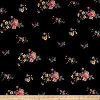 Double Brushed Poly Jersey Knit Mini Floral Bouquet Black/Blush