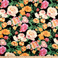 Double Brushed Poly Jersey Knit Multi Roses Black/Peach