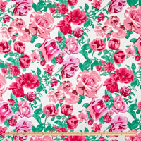 Double Brushed Poly Jersey Knit Multi Roses Ivory/Pink