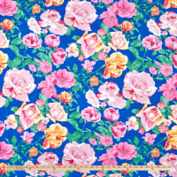 Double Brushed Poly Jersey Knit Multi Roses Royal/Pink
