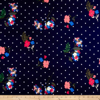 Double Brushed Poly Jersey Knit Dots and Floral Navy/Pink