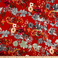 Double Brushed Poly Jersey Knit Floral Garden Rust