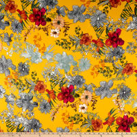 Double Brushed Poly Jersey Knit Floral Garden Mustard