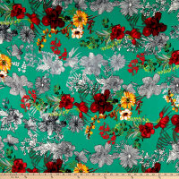 Double Brushed Poly Jersey Knit Floral Garden Jade