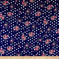 Double Brushed Poly Jersey Knit Dots and Rose Bouquet Navy