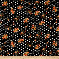 Double Brushed Poly Jersey Knit Dots and Rose Bouquet Black