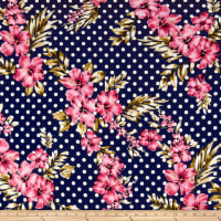 Double Brushed Poly Jersey Knit Dots and Tropical Floral Navy/Pink