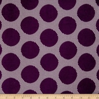Double Brushed Poly Jersey Knit Abstract Dots Eggplant