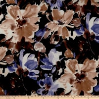 Liverpool Double Knit Watercolor Floral Black/Purple