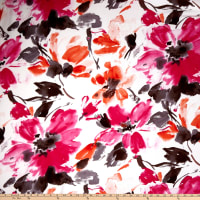 Liverpool Double Knit Watercolor Floral Ivory/Fuschia