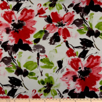 Liverpool Double Knit Watercolor Floral Ivory/Red
